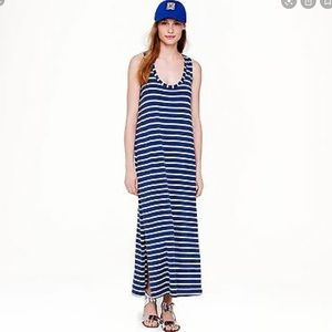 J. Crew Maxi Dress Sleeveless Striped Blue & White